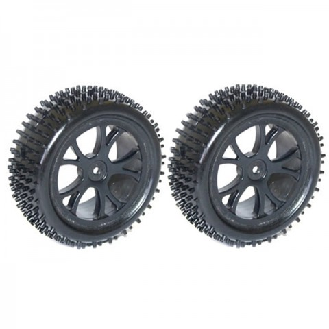 FTX 1/10 Rear Buggy Wheel and Tyre Set 12mm Hex (Pack of 2 Black Wheels) - FTX6301B