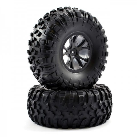 FTX Outlaw 12mm Hex Pre-Mounted Wheels and Tyres (Pack of 2 Black) - FTX8335B