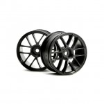 HPI 1/10 Scale 6 Spoke Split Black Wheel 26mm Wide (2 Wheels) - HP-3796