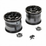 Losi 420S XXL2 Force Wheel with Cap Black Chrome (Pack of 2 Wheels) - LOS44000