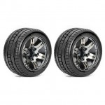 Roapex 1/10 TRIGGER Stadium Truck Tyre on Chrome Black Wheels 12mm Hex (Pack of 2) - R2001CB2