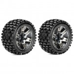 Roapex 1/10 TRACKER Stadium Truck Tyre on Chrome Black Wheels 12mm Hex (Pack of 2) - R2002CB2