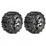 Roapex 1/10 MORPH Stadium Truck Tyre on Chrome Black Wheels 12mm Hex (Pack of 2) - R2004CB2