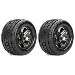 Roapex 1/10 TRIGGER Monster Truck Tyre on Chrome Black Wheels 12mm Hex (Pack of 2) - R3001CB2
