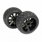 Absima 1/10 Truggy On-Road Tyres Glued on Black Wheels (Pack of 2 Front Wheel Sets) - 2500013