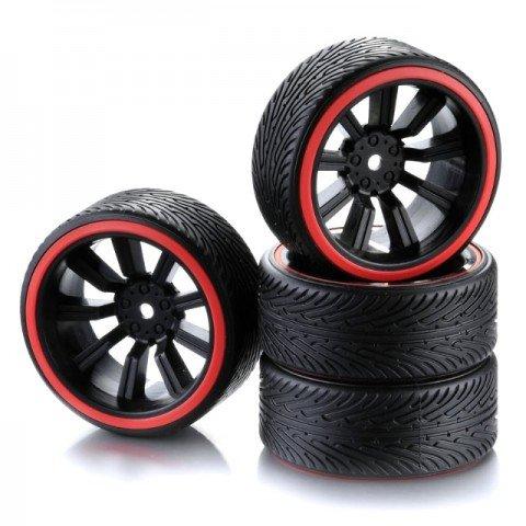 Absima 1/10 Drift Wheel and Tyre Set 9-Spoke Profile B Red (Set of 4) - 2510048
