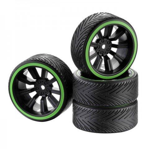 Absima 1/10 Drift Wheel and Tyre Set 9-Spoke Profile A Green (Set of 4) - 2510049