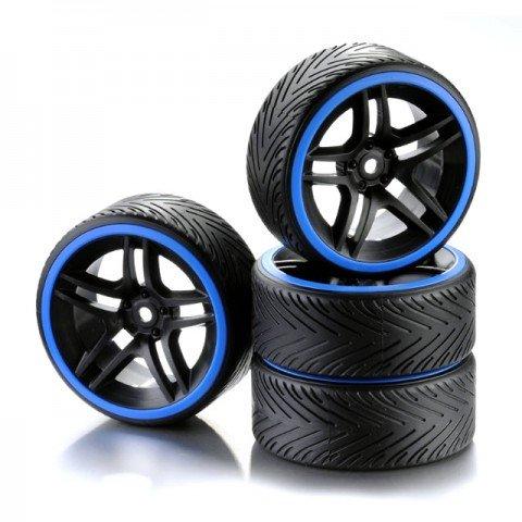 Absima 1/10 Drift Wheel and Tyre Set 10-Spoke Profile A Blue (Set of 4) - 2510051