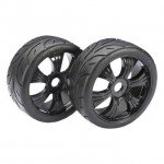 Absima 1/8 Buggy Street 6 Spoke 17mm Black Wheel and Tyre Set (Pack of 2 Wheels) - 2530003