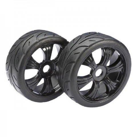 Absima 1/8 Buggy Street 6 Spoke 17mm Black Wheel and Tyre Set (Pack of 2 Wheels) - 2530003