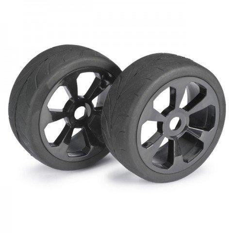 Absima 1/8 Street 6 Spoke 17mm Black Wheel and Tyre Set (Pack of 2 Wheels) - 2530008