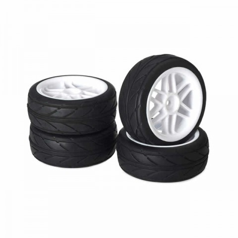 Absima 1/10 6 Spoke Wheel and Tyre Set On-Road Profile 12mm Hex White (Pack of 4 Wheels) - ABS2510004