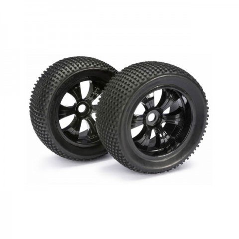 Absima 1/8 Scale Truggy Pre-Glued Black 17mm Hex Dirt Wheel and Tyre (Set of 2 Wheels) - ABS2520013