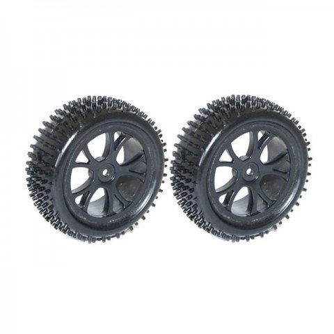 FTX 1/10 Front Buggy Wheel and Tyre Set 12mm Hex (Pack of 2 Black Wheels) - FTX6300B