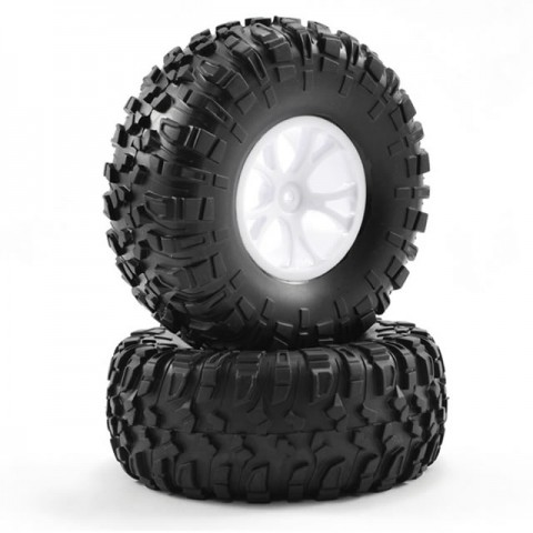 FTX Outlaw 12mm Hex Pre-Mounted Wheels and Tyres (Pack of 2 White) - FTX8335W