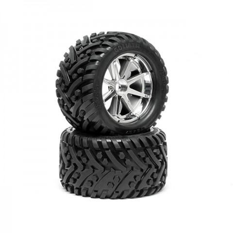 HPI 1/8 Pre-Mounted Goliath Tyres 178x97mm On Blast Chrome Wheels (Set of 2) - HPI-4727