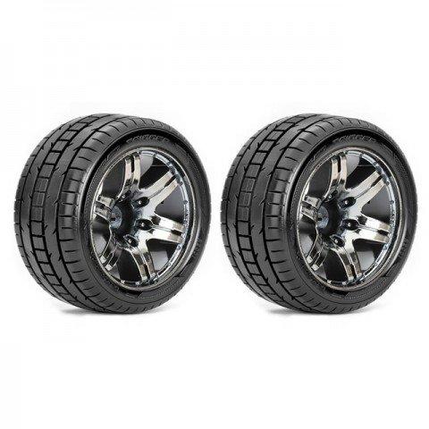 Roapex 1/10 TRIGGER Stadium Truck Tyre on Chrome Black Wheels 12mm Hex (Pack of 2) - R2001CB2