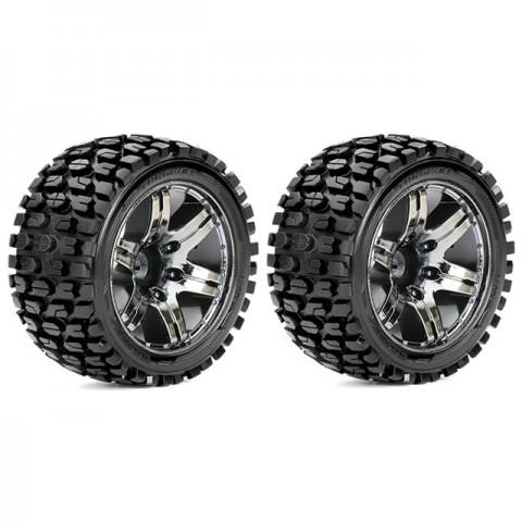 Roapex 1/10 TRACKER Stadium Truck Tyre on Chrome Black Wheels 12mm Hex (Pack of 2) - R2002CB2