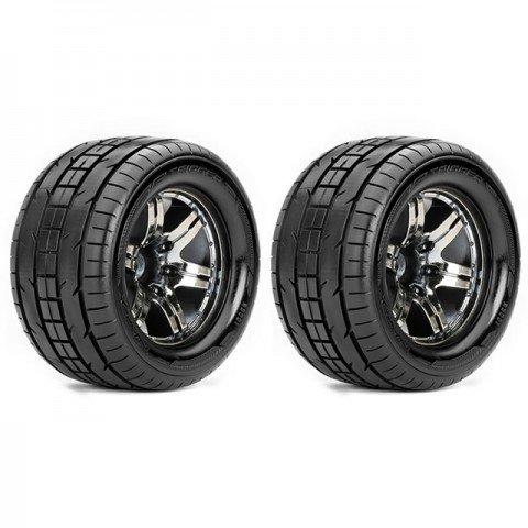 Roapex 1/10 TRIGGER Monster Truck Tyre on Chrome Black Wheels 12mm Hex (Pack of 2) - R3001CB2
