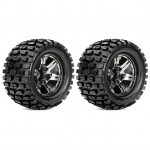 Roapex 1/10 TRACKER Monster Truck Tyre on Chrome Black Wheels 12mm Hex (Pack of 2) - R3002CB2