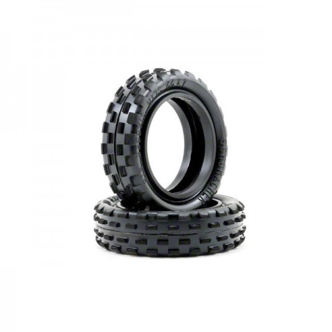 Schumacher 1/10 2WD Stagger Rib Front 2.2 Slim Buggy Tyres Yellow Compound (Pack of 2) - U6592