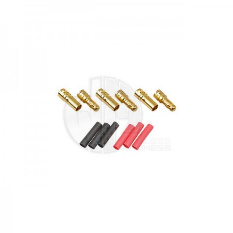 Logic RC 3.5mm Gold Connector Set with Heat Shrink (3 Pairs) - FS-GC03-03