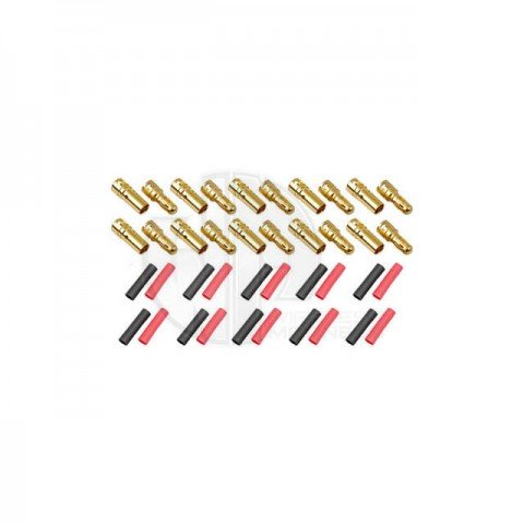 Logic RC 3.5mm Gold Connector Set with Heat Shrink (10 Pairs) - FS-GC03-10