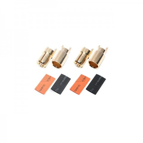 Logic RC 6mm Gold Bullet Connectors with Heat Shrink (Pack of 2 Pairs) - FS-GC06-02