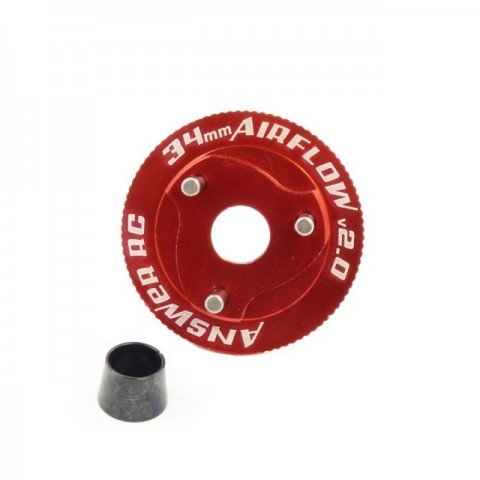 Answer RC v2.0 Airflow 3 Shoe Clutch Flywheel 34mm for 1/8 Nitro Models (Red) - ANSCS4007-VE