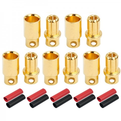 Radient 8mm Gold Bullet Connector with Heat Shrink (5 Pairs) - RDNAC010098