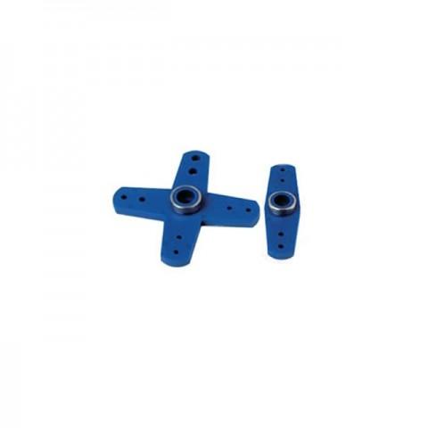 Fastrax KO Straight and Cross Type Servo Horns (Blue) - FAST12B